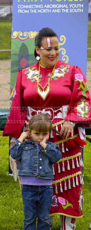First Nation woman and a child