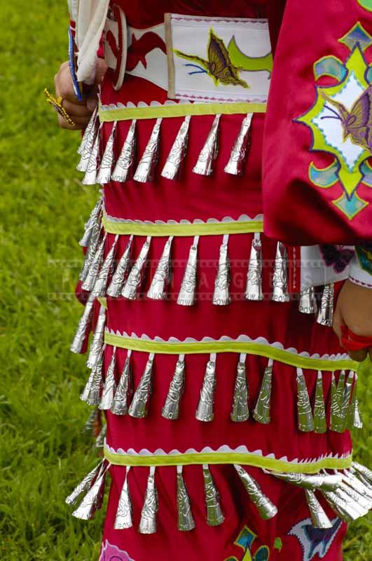 Details of jingle dress made from silver