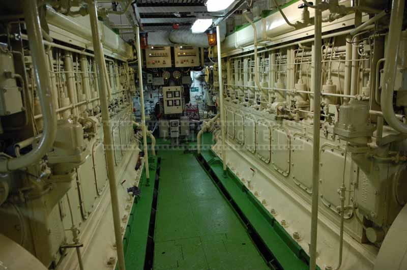 Engine room of the vessel