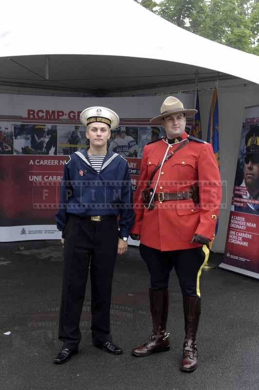 Sea cadet and Canadian Mounty officer