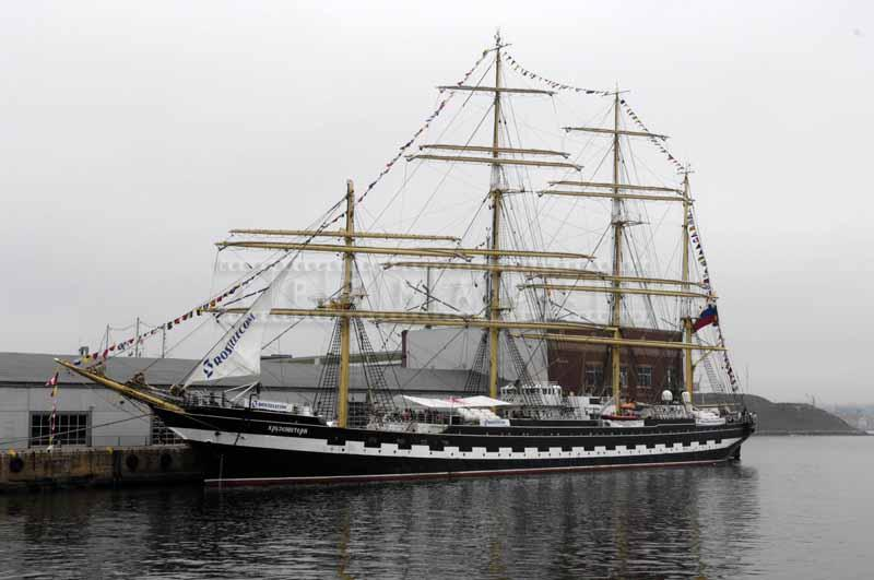 Foggy day in Halifax and Kruzenstern moored by peer 21