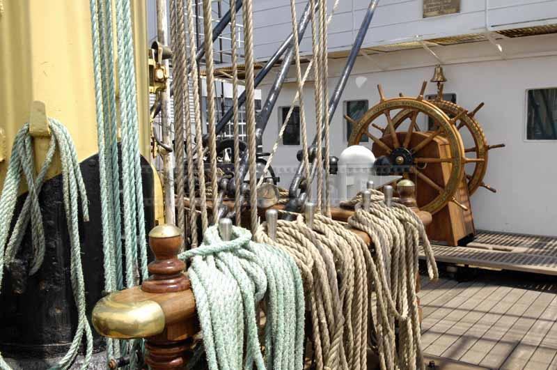 Lines, rigging and ships wheel