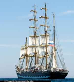 Kruzenstern leaving Halifax Harbor to start the race, free image