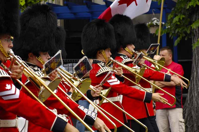 a row of soldiers in a band