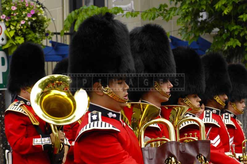 Canadian military band with bearskin caps