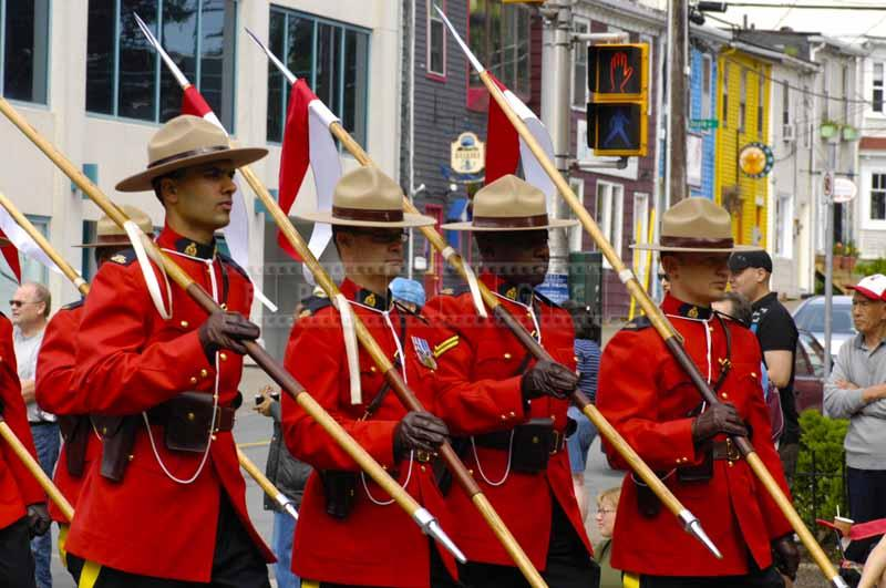 RCMP with Canada flags