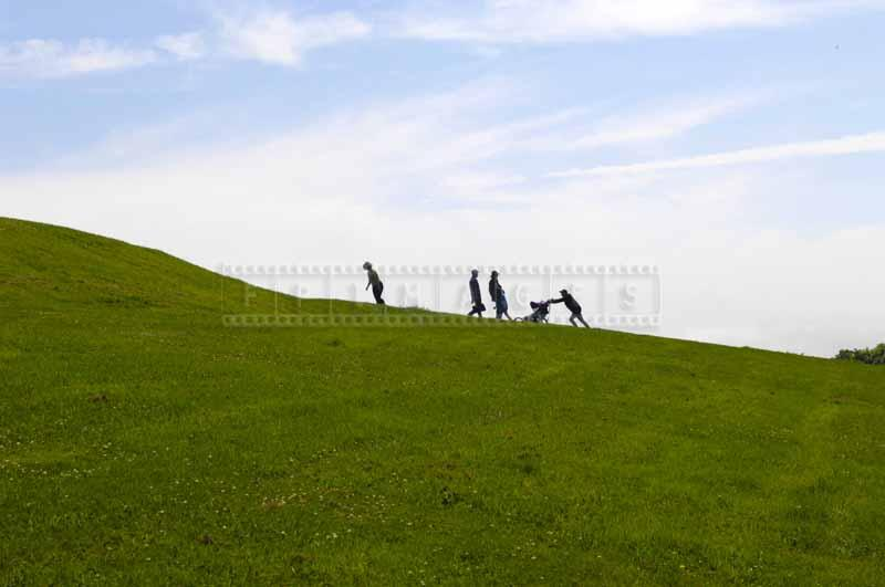 Steep grassy hill of the fortress