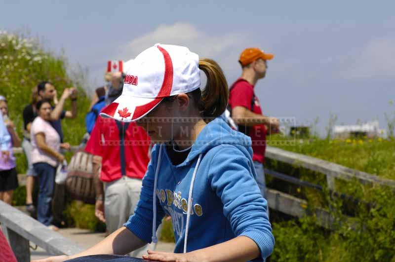 Girl wearing Canada cap