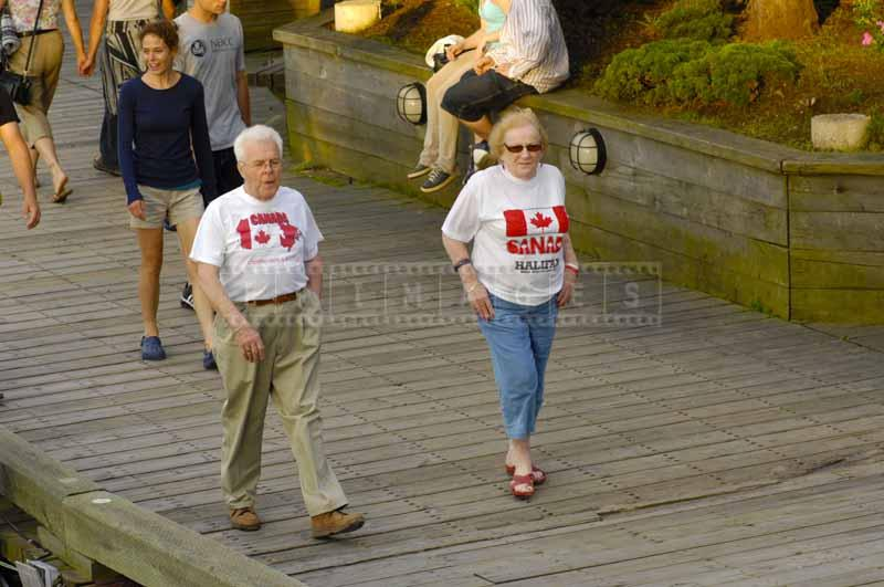 People wearing t-shirts with Canada flags