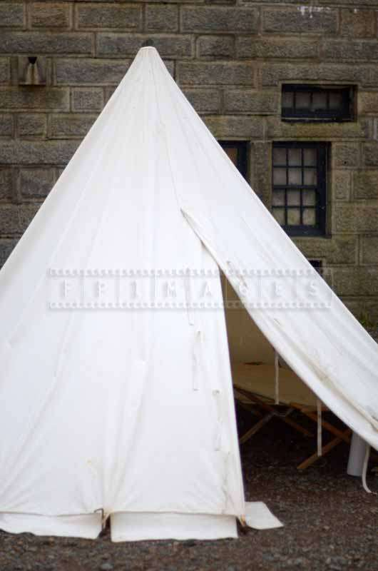 Period white tarp soldier tent