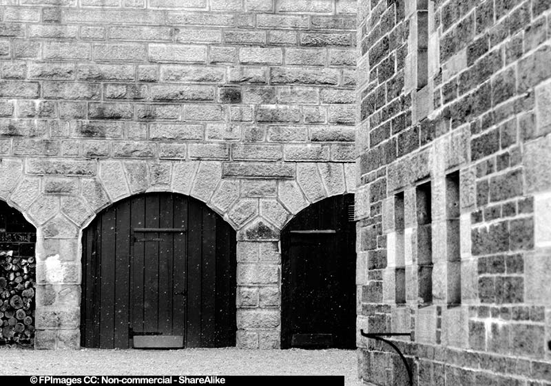 Black & White Photo of Citadel Granite Walls, free image