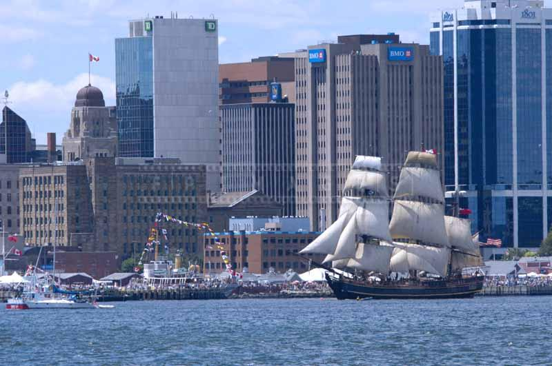 HMS Bounty sailing by the Halifax's waterfront, sailing photos