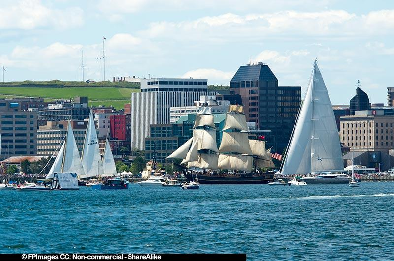 Tallships against the Halifax skyline and Citadel, free image
