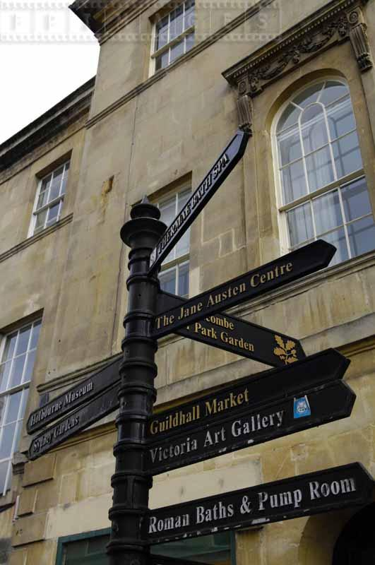 Attractions directions street sign in Bath