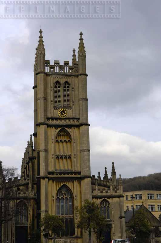 Main tower with clock of Bath Abbey
