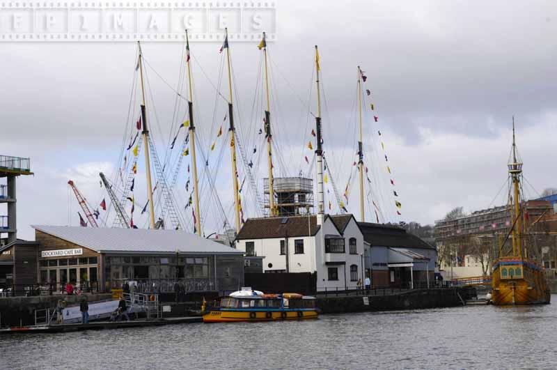 Masts of ss Great Britain at the museum in Bristol
