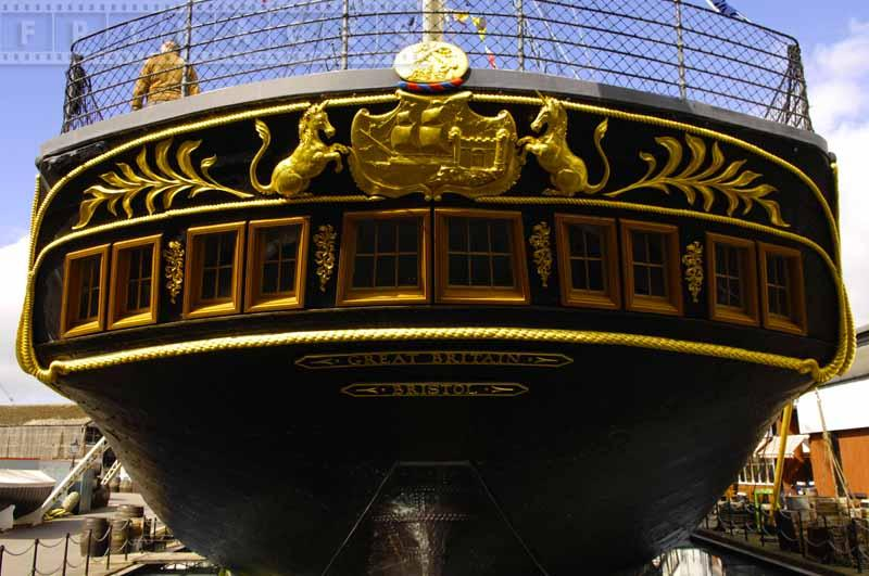 Golden trim on the ships stern