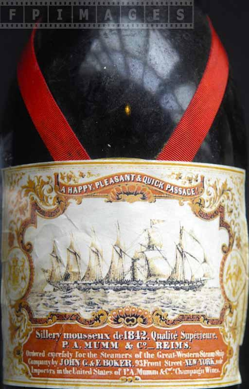 Commemorative P.A.Mumm & Reims champagne bottle, 1842