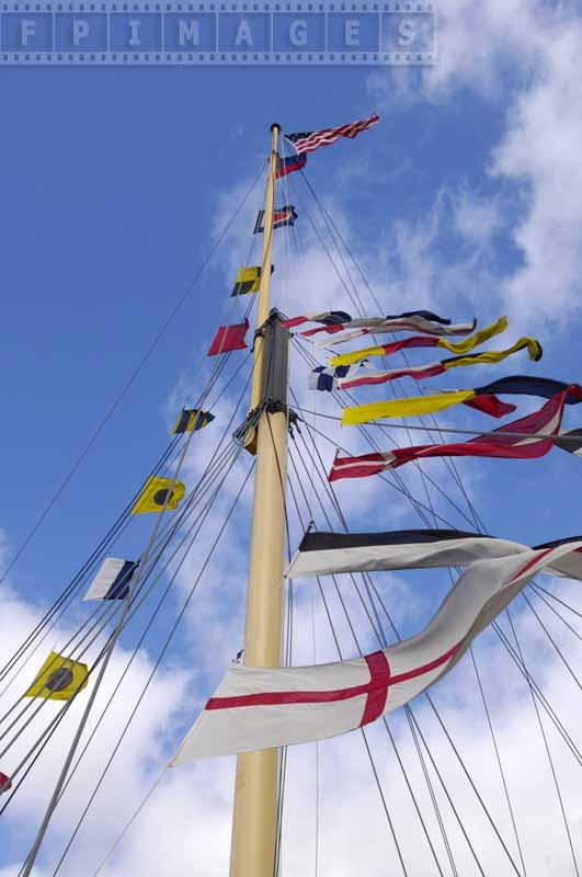 Flags flying on one of the masts