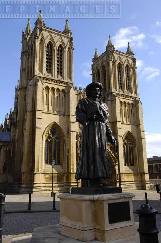 Ram Mohan statue in front of Bristol Cathedral