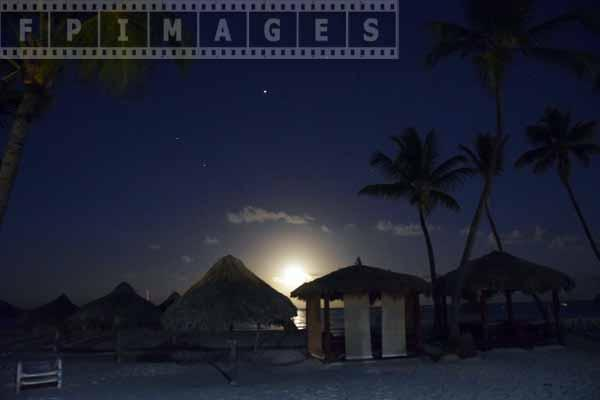 Tropical beach full moonrise