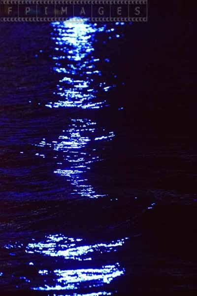 Ocean reflections of blue lights, abstract picture