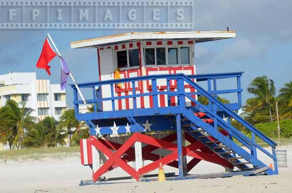 Red, white and blue beach hut with stars