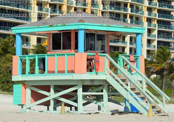 Lifeguard tower in pastel colors