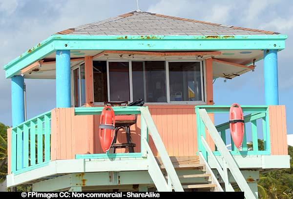 Turquoise and peach lifeguard station