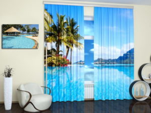 Beautiful beach picture printed on a fabric