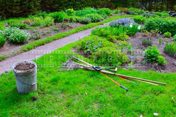 spring landscaping in progress at perennial garden