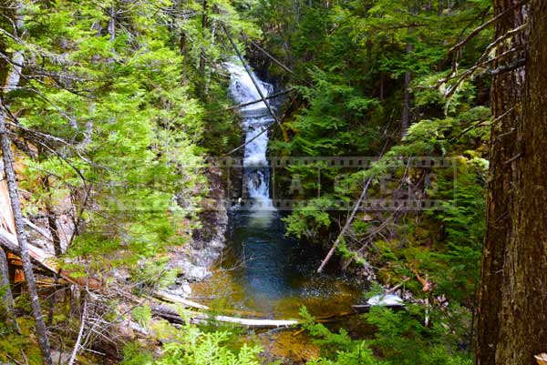 Panoramic landscape, waterfall in the forest, nature pictures