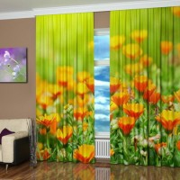 window decorated with a digital print, orange flowers on green background