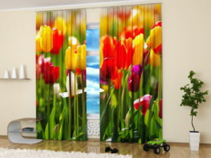 Spring flowers such as tulips can be printed on curtains