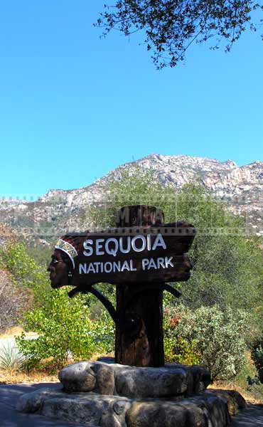 California hiking and great outdoors,  Sequoia National Park Road Sign
