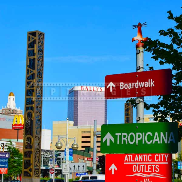 Sign to boardwalk, casinos and shopping