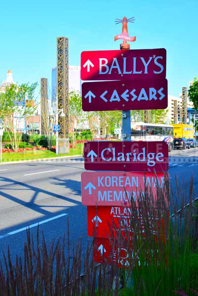 Signs showing directions to various city attractions