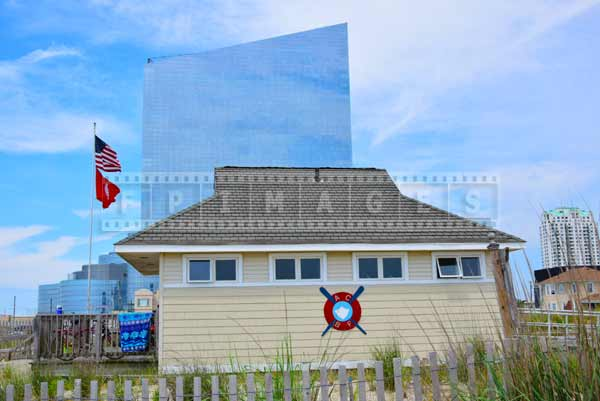 beach patrol hut, atlantic city beach cityscapes
