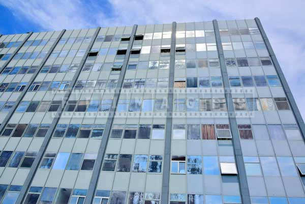 Facade of the former waterfront hotel in Atlantic City, abstract images