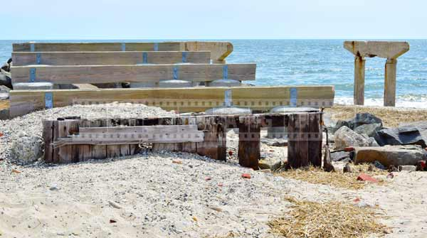 atlantic city boardwalk destroyed by super storm, climate change concept abstract images