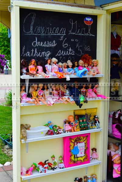 Toys and dolls shop display, boardwalk at Gardners basin