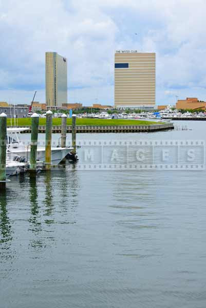 Atlantic City cityscapes - view of Borgata Casino across from Gardner's basin
