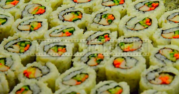 Rows of sushi, colorful food pictures