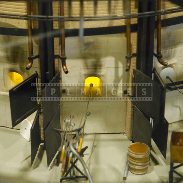 Glass making oven, industrial images