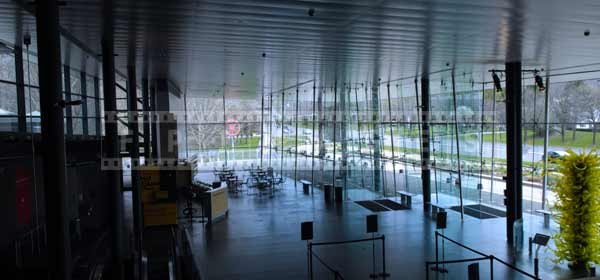 Museum of glass entry hall, architectural photography