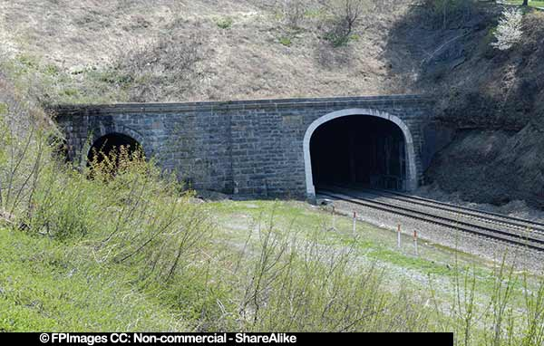 industrial image of the railroad tunnels in Gallitzin