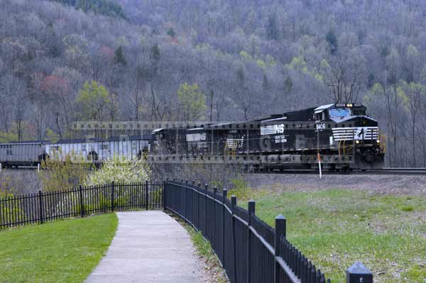 Norfolk Southern railway double locomotive with coal freight train, industrial images
