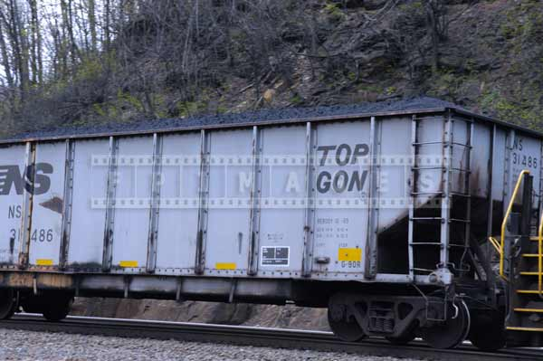 Train hopper car loaded with coal with open top, industrial images