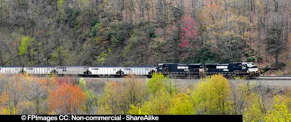 Railway industry - train hauling coal at Horseshoe Curve