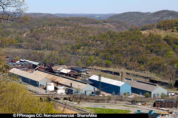 Industrial buildings, view from the inclined plane